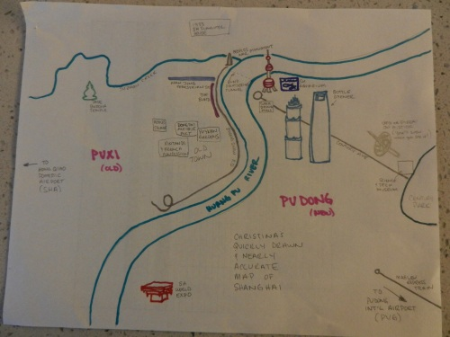 Christina's quickly drawn, super scientific, and nearly accurate SH map.